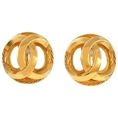 Chanel Gold CC Cage Earrings