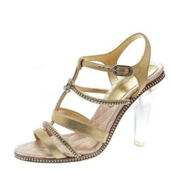 Chanel Gold CC Crystal Embellished Suede Lucite Heel Strappy Sandals Size 37.5