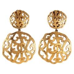 Chanel Gold CC Laser Cut Circle Earrings