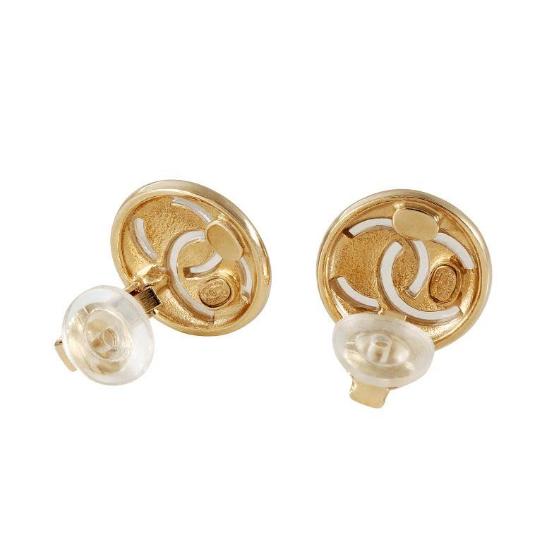Women's Chanel Gold CC Mini Button Earrings For Sale