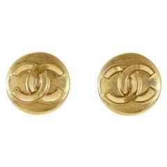 Chanel Gold CC Mini Button Earrings