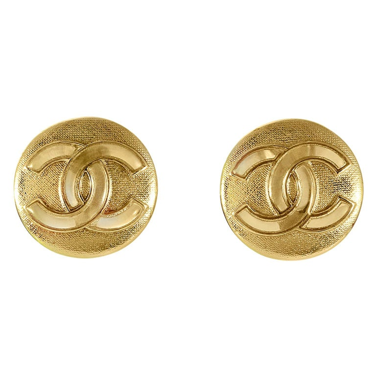 Chanel Gold CC Mini Button Earrings For Sale