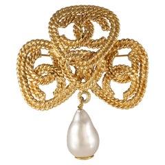 Chanel Gold CC Pearl Drop Pin