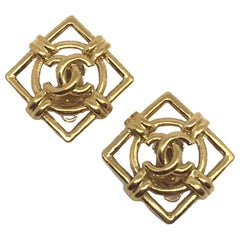CHANEL Gold CC Round Square Earrings