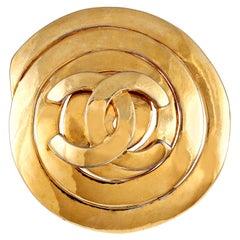 Chanel Gold CC Spiral Pin
