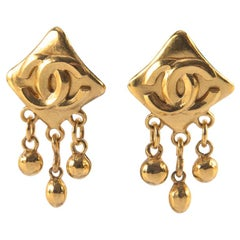 Chanel Gold CC Square Earrings with Drops
