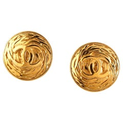 Chanel Gold CC Swirl Clip On Earrings