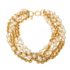 Chanel Gold Chain And Pearl Necklace,  Circa 1985