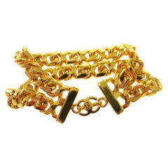 Chanel Gold Chain Double Link Small CC Turnlock Charm Evening Cuff Bracelet