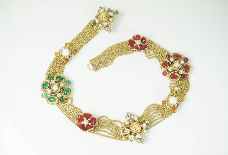 Chanel Gold Chain Link Belt/Necklace with Gripoix and Pearl Camelias-Circa 70's  This magnificent highly collectible belt can also be worn as a single strand or double choker style necklace. It has 8 uniquely created ornaments in the form of