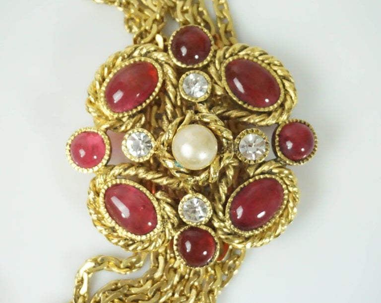 Women's or Men's Chanel Gold Chain Link Belt/Necklace with Gripoix and Pearl Camelias-Circa 70's For Sale
