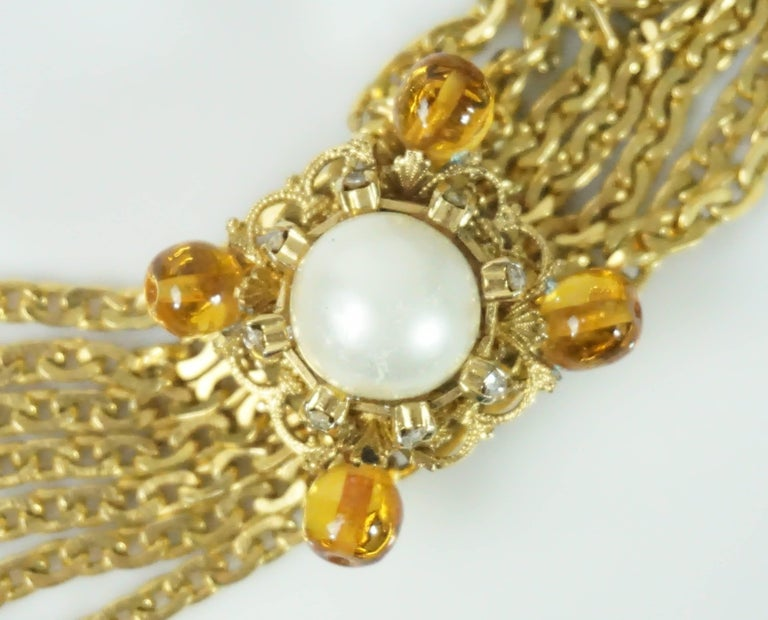 Chanel Gold Chain Link Belt/Necklace with Gripoix and Pearl Camelias-Circa 70's For Sale 1