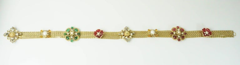Chanel Gold Chain Link Belt/Necklace with Gripoix and Pearl Camelias-Circa 70's For Sale 3