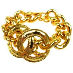 Chanel Gold Chain Link Large CC Dangle Charm Evening Statement Cuff Bracelet