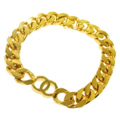 Chanel Gold Chain Thin Link Small CC Charm Evening Cuff Bracelet