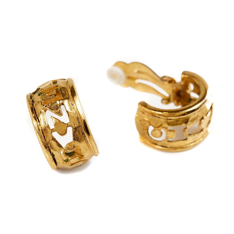 Women's Chanel Gold CHANEL Cutout Clip On Earrings For Sale