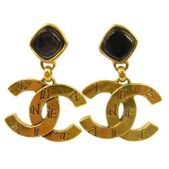Chanel Gold 'CHANEL' Etched Gripoix Evening Dangle DropsEarrings in Box