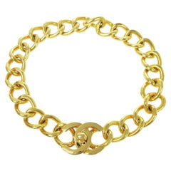 Chanel Gold Charm CC Chain Link Evening Choker Necklace in Box