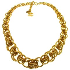 Chanel Gold Charm CC Chain Link Evening Pendant Choker Necklace