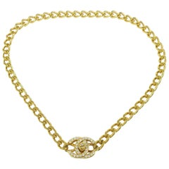 Chanel Gold Charm CC Chain Rhinestone Link Evening Pendant Choker Necklace