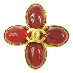 Chanel Gold Charm CC Flower Cross Gripoix Red Glass Evening Pin Brooch in Box