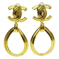 Chanel Gold Charm CC Large Evening Dangle Tear Drop Statement Earrings