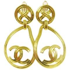 Chanel Gold Charm CC Large Round Tear Drop Dangle Drop Evening Hoop Earrings
