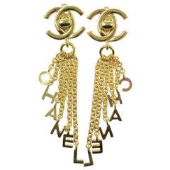 Chanel Gold Charm CC Turn Shingle Chain Evening Statement Earrings