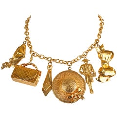 Chanel Gold Charm Pendant Vintage Choker