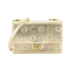Chanel Gold Circle C Flap Bag Embossed Calfskin Small