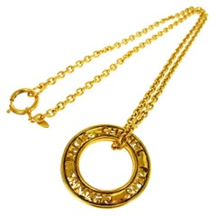 Chanel Gold Link Medallion Charm CC Evening Drop Pendant Chain Necklace in Box