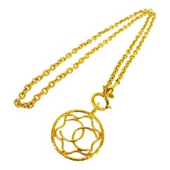 Chanel Gold Medallion Charm CC Evening Drop Link Pendant Chain Necklace in Box