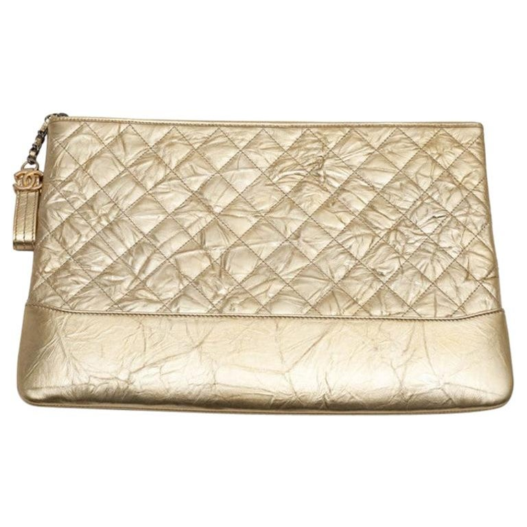 CHANEL Gold Clutch In Aged Leather For Sale