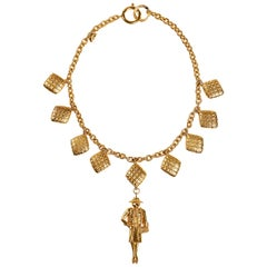 Chanel Gold Coco Pendant Choker Necklace