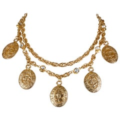 Chanel Gold Coin and Rock Crystal Necklace Belt