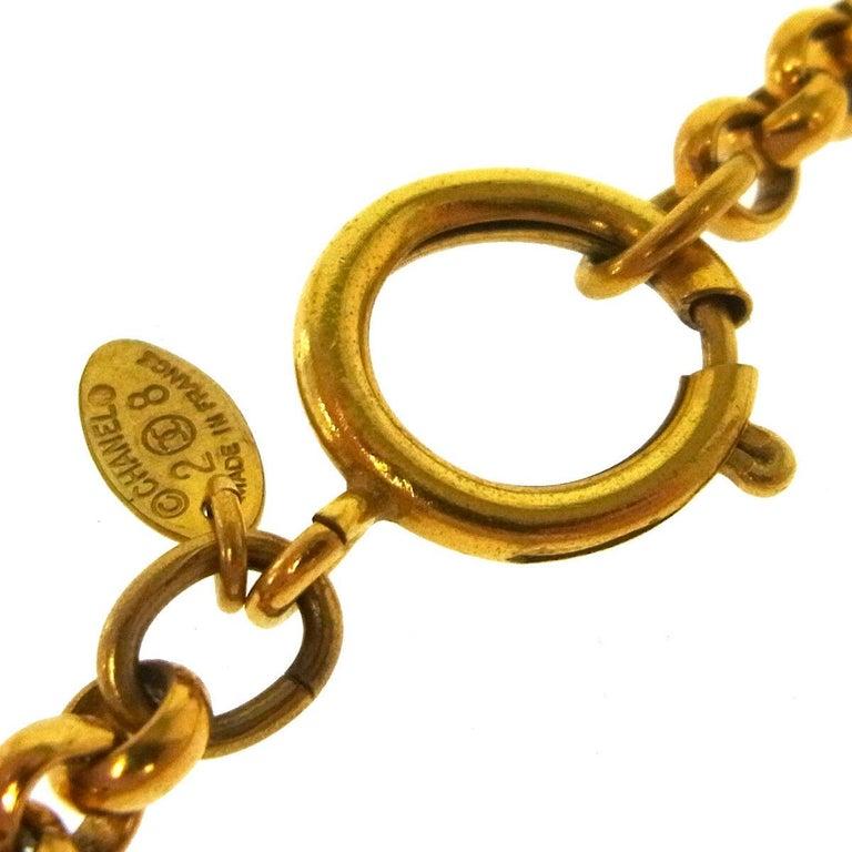 Women's Chanel Gold Crest Cross Charm CC Evening Drop Link Pendant Drop Chain Necklace