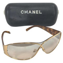 Chanel Gold Crossover and Tortoise Shell Sunglasses with Case