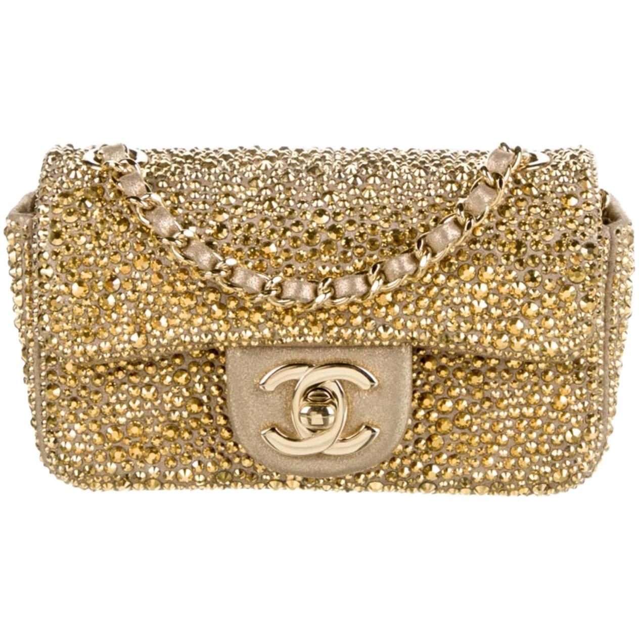 Chanel Gold Crystal Leather Small Mini Evening Shoulder Flap Bag