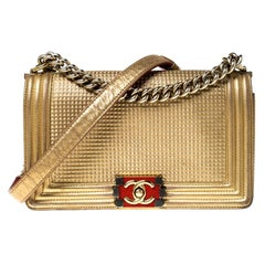 Chanel Gold Cube Embossed Leather Medium Boy Flap Bag