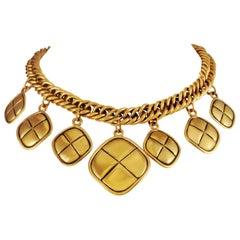 Chanel Gold Diamond Charm Vintage Choker