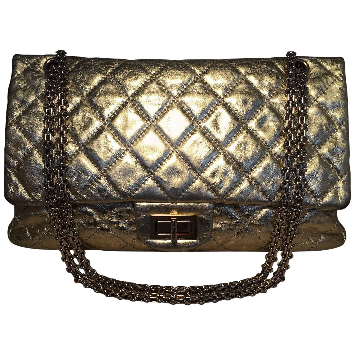Chanel Gold Distressed Leather 2.55 Reissue 227 Double Flap Classic
