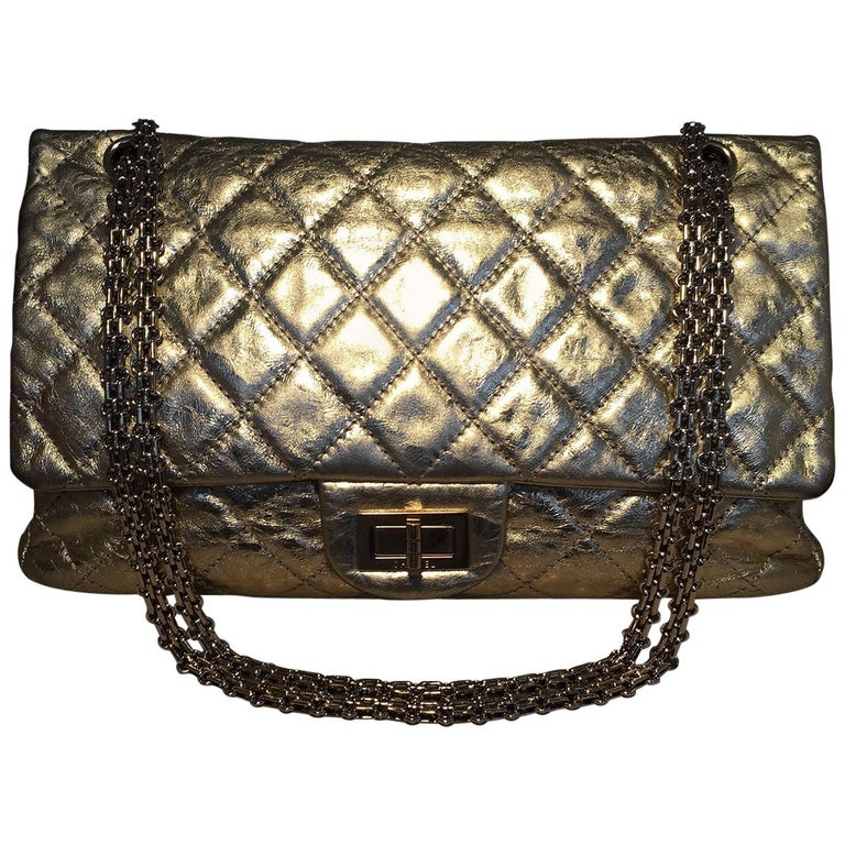Chanel Gold Distressed Leather 2.55 Reissue 227 Double Flap Classic For Sale
