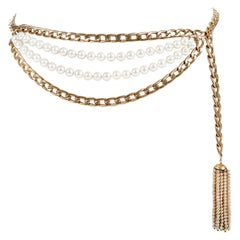 Chanel Gold Double Chain and Pearl Tassel Belt Necklace