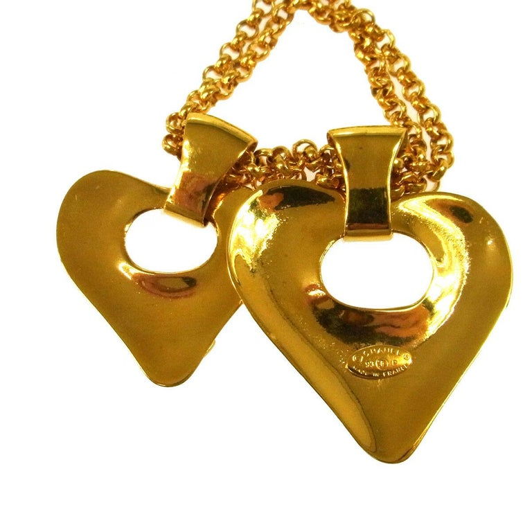 Women's Chanel Gold Double Heart Charm Logo Evening Drop Drop Chain Necklace  For Sale