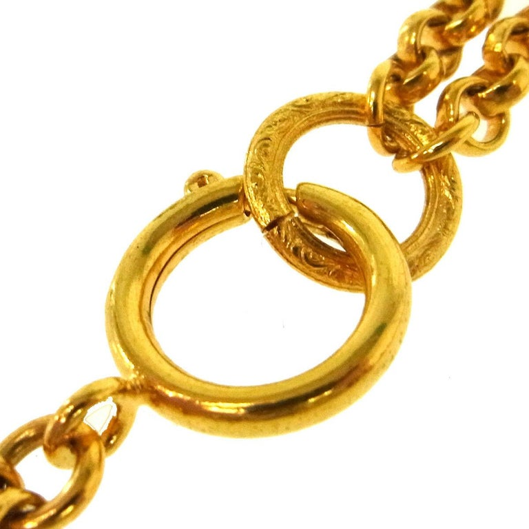 Chanel Gold Double Heart Charm Logo Evening Drop Drop Chain Necklace  For Sale 1