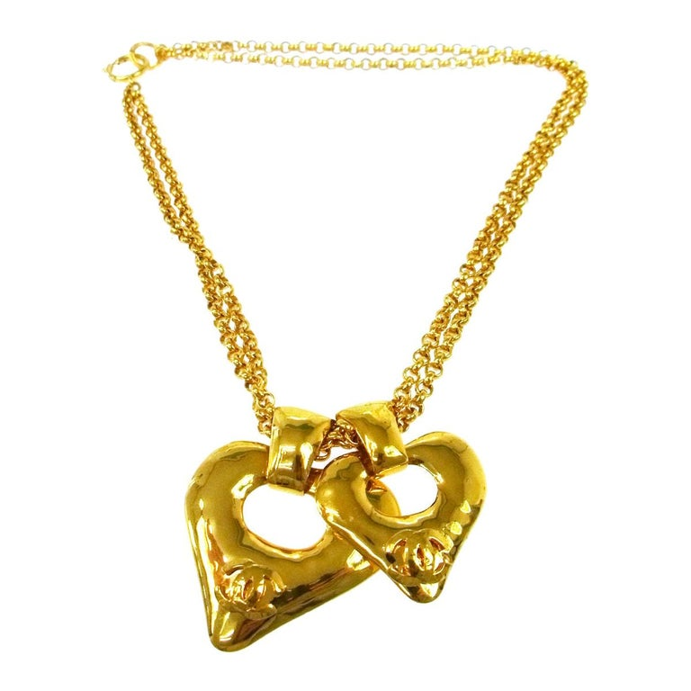 Chanel Gold Double Heart Charm Logo Evening Drop Drop Chain Necklace  For Sale