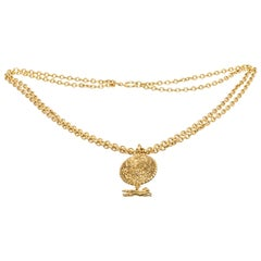 Chanel Gold Equestrian CC Medallion Vintage Pendant Chain Necklace