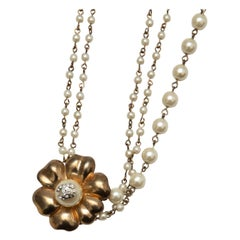 Chanel Gold Faux Pearl Flower Necklace
