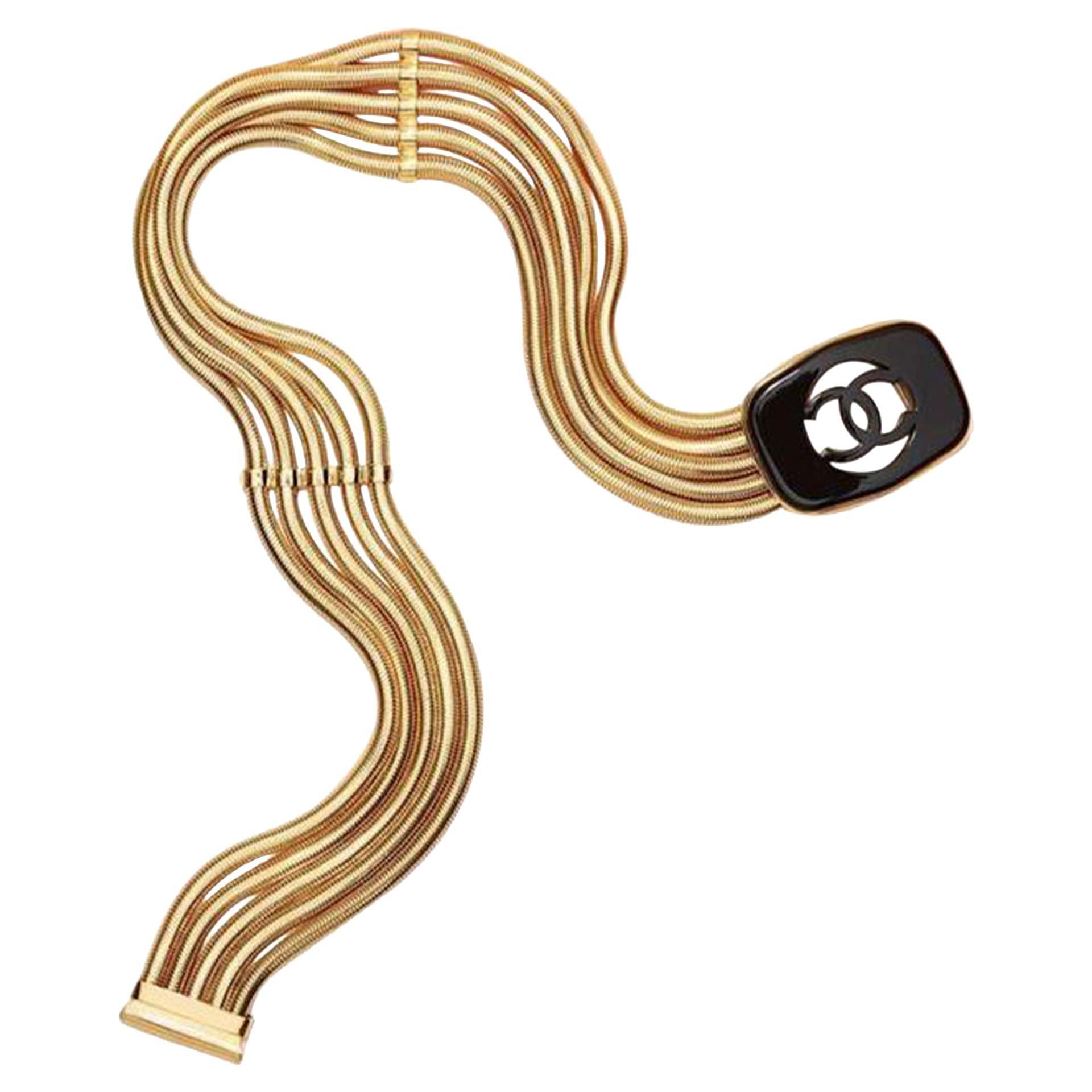 Chanel Gold Gold-mesh Multi Strand Chain Tortoise Cc Logo Spring 1997 Belt
