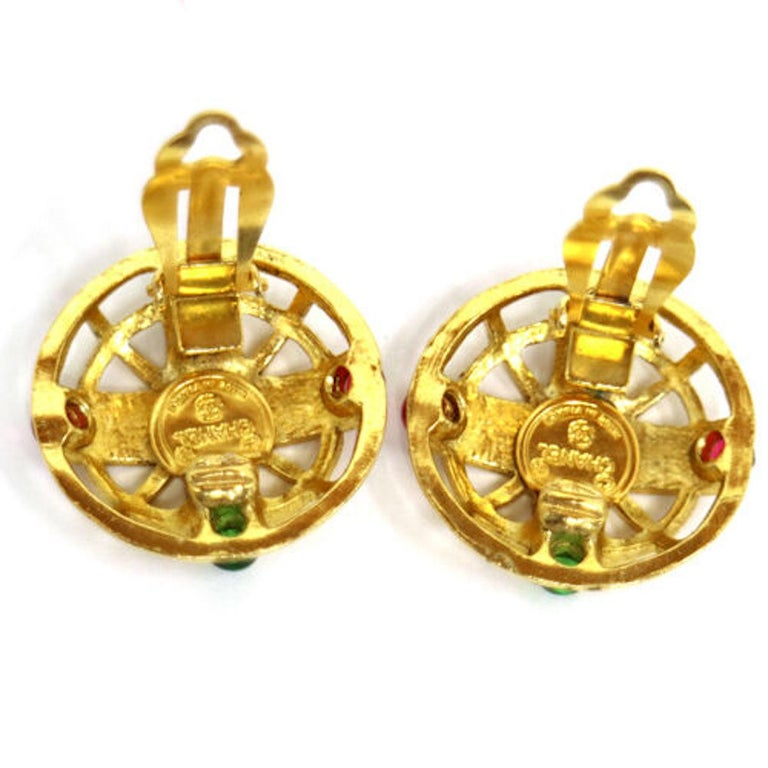 Chanel Gold Green Red Gripoix 'CHANEL' Button Evening Earrings  Metal  Gripoix Gold tone Clip on closure  Made in France Diameter 1